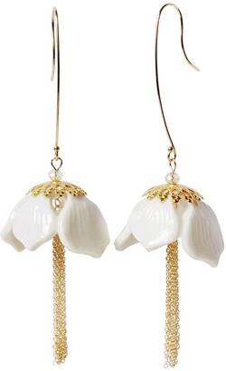 Porcelain Snowdrop Flower Tassel Earrings
