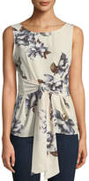 West Kei Floral Woven Tie-Front Tank