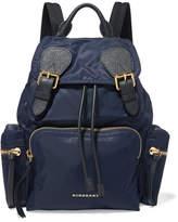 Burberry Leather-trimmed Gabardine Backpack