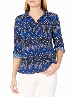 Notations Women's 3/4 Roll Tab Y Neck Point Collar Button Down Blouse