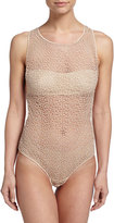 La Perla Macrame Lace Art Sheer Zip Bodysuit, Nude