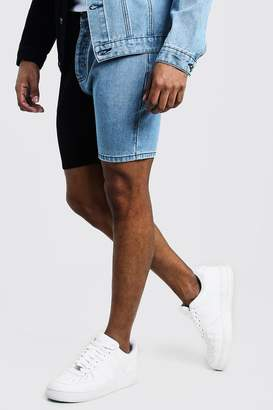 boohoo Slim Fit Denim Short With Contrast Detail