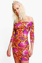 Boohoo Keira Printed Off Shoulder Bodycon Dress