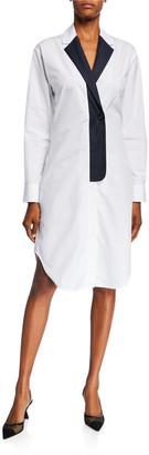 Coperni Blazer-Collar Cotton Shirtdress