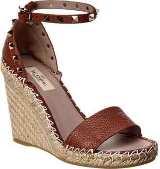 Valentino Rockstud Ankle Strap Leather Wedge Sandal