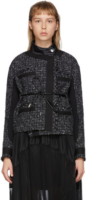 Sacai Black Wool Summer Tweed Belted Jacket