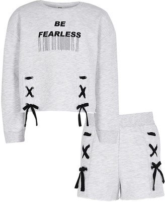 River Island Girls grey 'Fearless' sweatshirt outfit