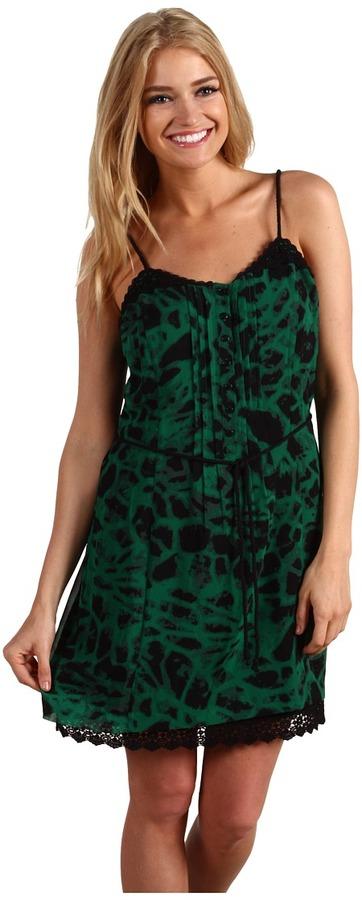 Kensie Animal Print Camisole Dress (Emerald) - Apparel