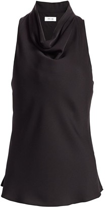 Frame Silk Draped Sleeveless Top