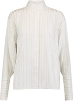 Dion Lee Quarter frayed pinstriped cotton-chambray blouse
