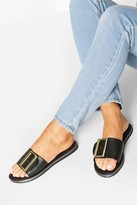 boohoo Buckle Trim Sliders