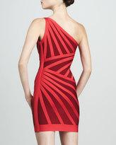 Herve Leger One-Shoulder Two-Tone Bandage Dress