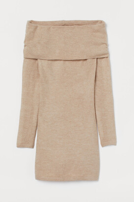H&M Off-the-shoulder Dress - Beige