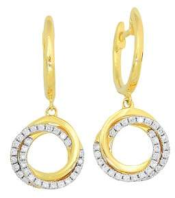 Frederic Sage 18K Yellow Gold Flat Triple Halo Diamond Earrings