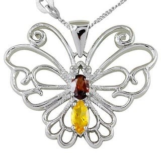 Topaz, Sapphire,ACitrine, Garnet, Diamond Sterling Silver Marquise Butterfly Pendant by Orchid Jewelry
