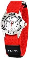 Ravel Children's Red and Black Easy Fasten Action Strap Watch.