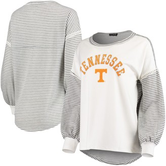 Women's White Tennessee Volunteers Line It Up Striped Bubble Long Sleeve T-Shirt