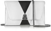 Akris Anouk Color Block Pebbled Leather Clutch w/Chain