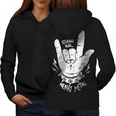 Heavy Metal Music Hand Spike Women L Hoodie Back | Wellcoda