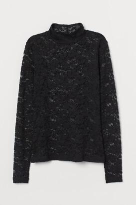 H&M Lace Mock-turtleneck Top - Black