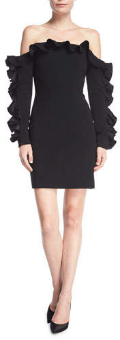 Cinq à Sept Rosiemarie Off-the-shoulder Straight Dress w/ Ruffled Frills