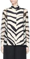 Lanvin Satin front zebra print chiffon shirt