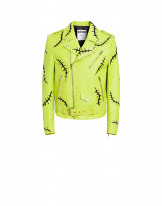 Moschino Scars Nappa Biker Man Green Size 50 It - (40 Us)