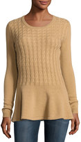 Neiman Marcus Cashmere Cabled Peplum Pullover Sweater, Camel