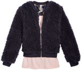 Beautees 2-Pc. Faux-Fur Bomber Jacket, Printed Tank and Necklace Set, Big Girls (7-16)