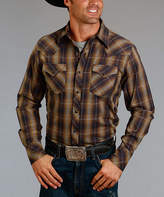 Stetson Brown Marled Plaid Button-Up