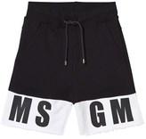 MSGM Black Branded Sweat Shorts