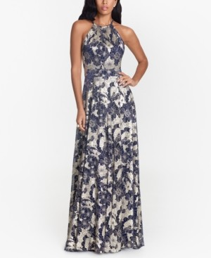Betsy & Adam Metallic Floral Halter Gown