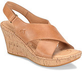 Børn Henning Leather Criss Cross Slingback Cork Wedge