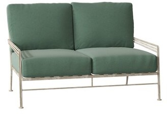 Caruso Woodard Madison Loveseat Woodard Cushion Color Seaglass, Frame Color: Weathered White