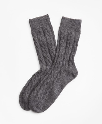 Brooks Brothers Cable-Knit Stretch Cashmere Socks
