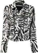 Philipp Plein Statement zebra print biker jacket