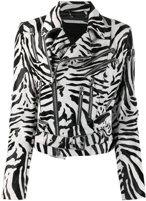 Philipp Plein Statement zebra print biker jacket