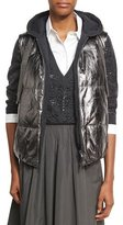 Brunello Cucinelli Metallic Leather Puffer Vest, Gray