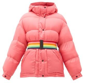 Perfect Moment Oversized Rainbow-belt Down-filled Ski Jacket - Pink