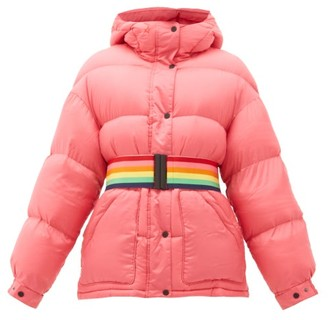 Perfect Moment Oversized Rainbow-belt Down-filled Ski Jacket - Womens - Pink