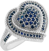 Savvy Cie Sterling Silver Pave Blue Diamond Heart Split Shank Ring - 0.35 ctw