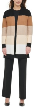 Calvin Klein Cotton Colorblocked Open-Front Cardigan
