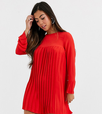 Asos DESIGN Petite pleated trapeze mini dress with long sleeves-Red
