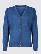 Marks and Spencer Merino Wool Blend Slim Fit Cardigan