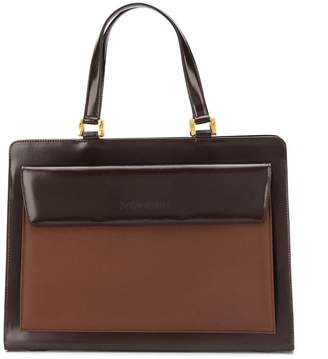 Saint Laurent Pre Owned two-tone leather briefcase