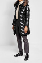 Moncler Albizia Quilted Down Coat with Fur-Trimmed Hood