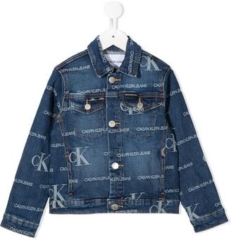 Calvin Klein Kids Monogram Print Denim Jacket