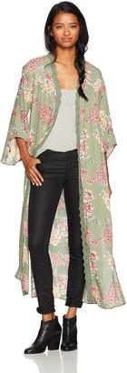 Angie Women's Green Floral Duster Kimono