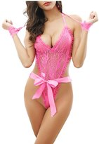 Alter Womens See Through Lace Bow Teddy Mini Night Dress Lingerie Set