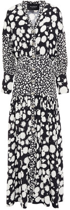 Paper London Button-detailed Gathered Floral-print Twill Maxi Dress